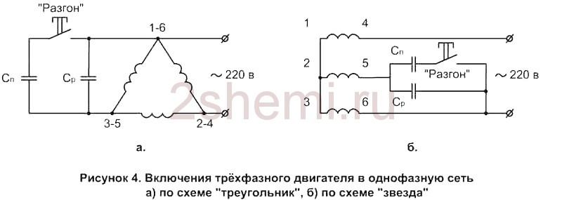 Schema des Anschlusses eines asynchronen Elektromotors an ein 220V ...